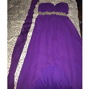 An elegant violet high-low hem dress w/ scarf.